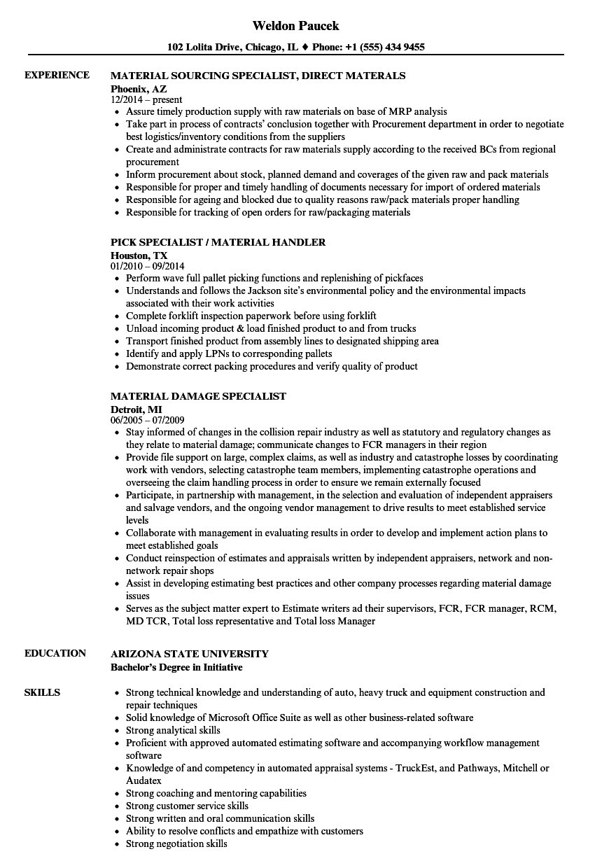 Specialist, Material Resume Samples | Velvet Jobs