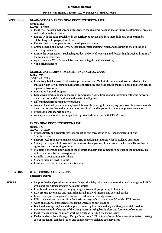 specialist  packaging resume samples