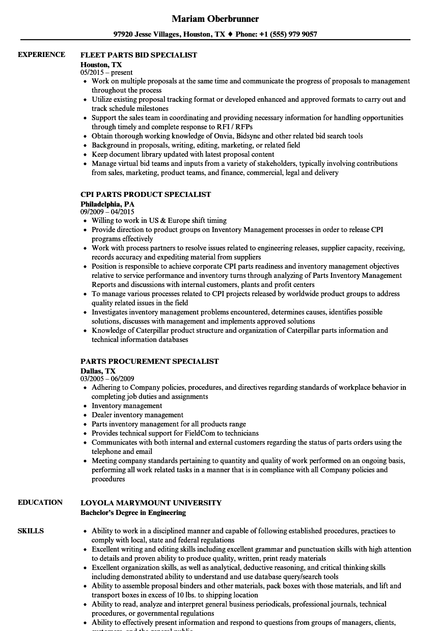 specialist parts resume samples