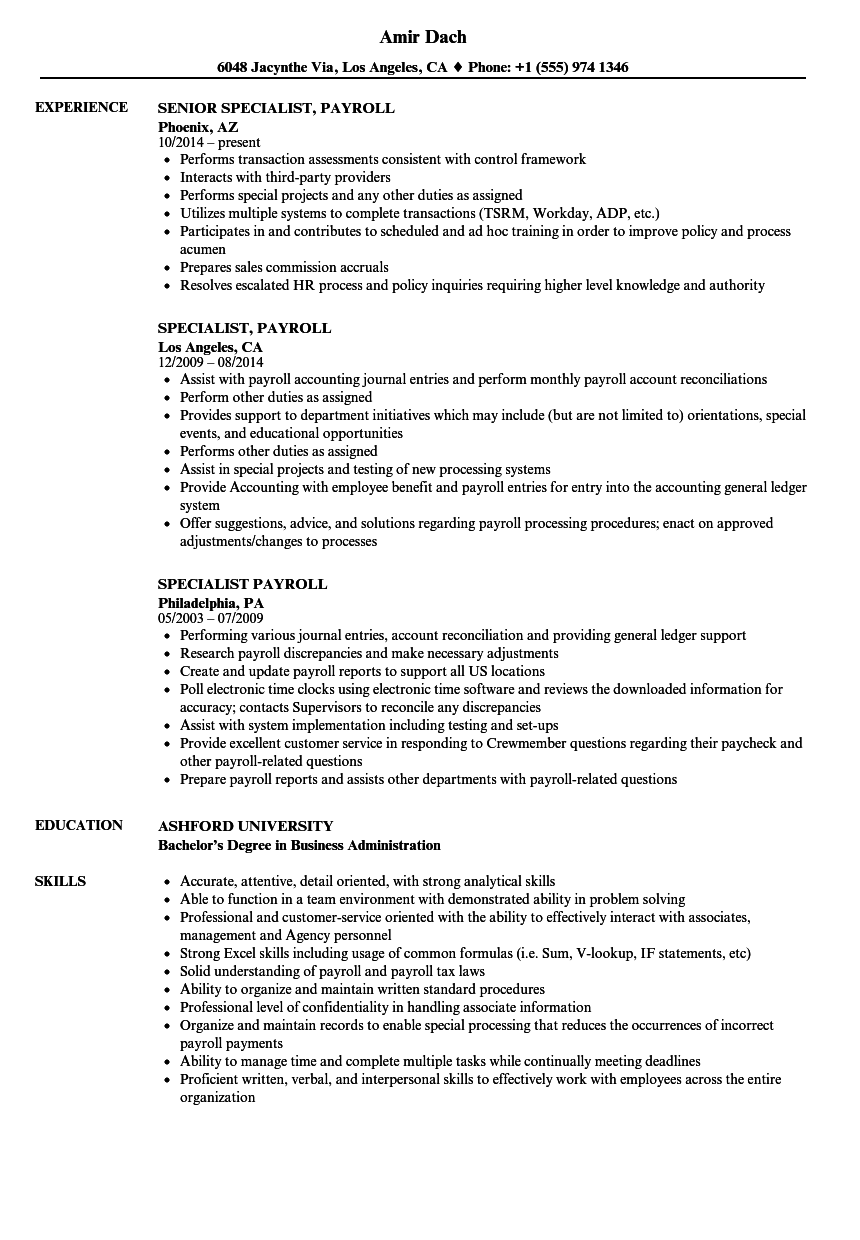 Specialist Payroll Resume Samples Velvet Jobs