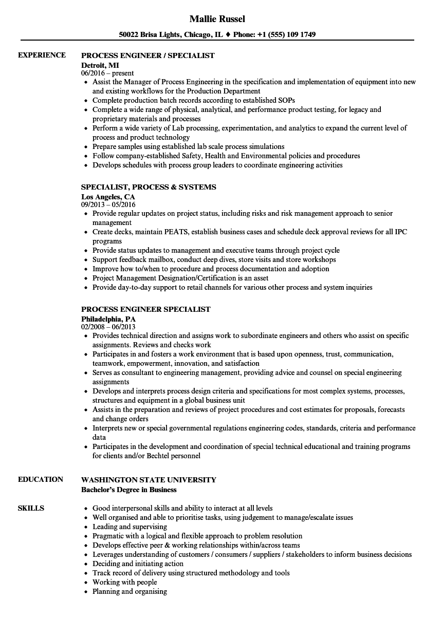 specialist  process resume samples