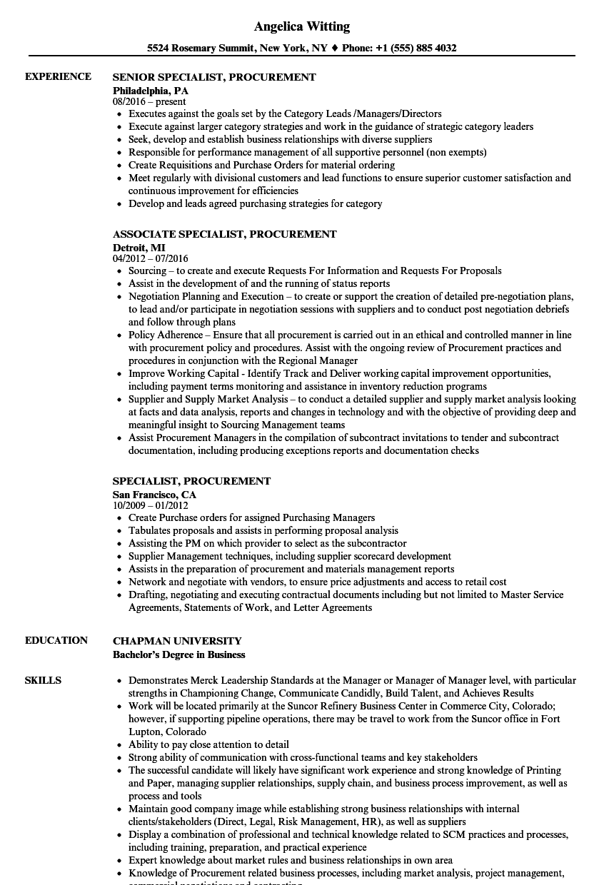 specialist  procurement resume samples