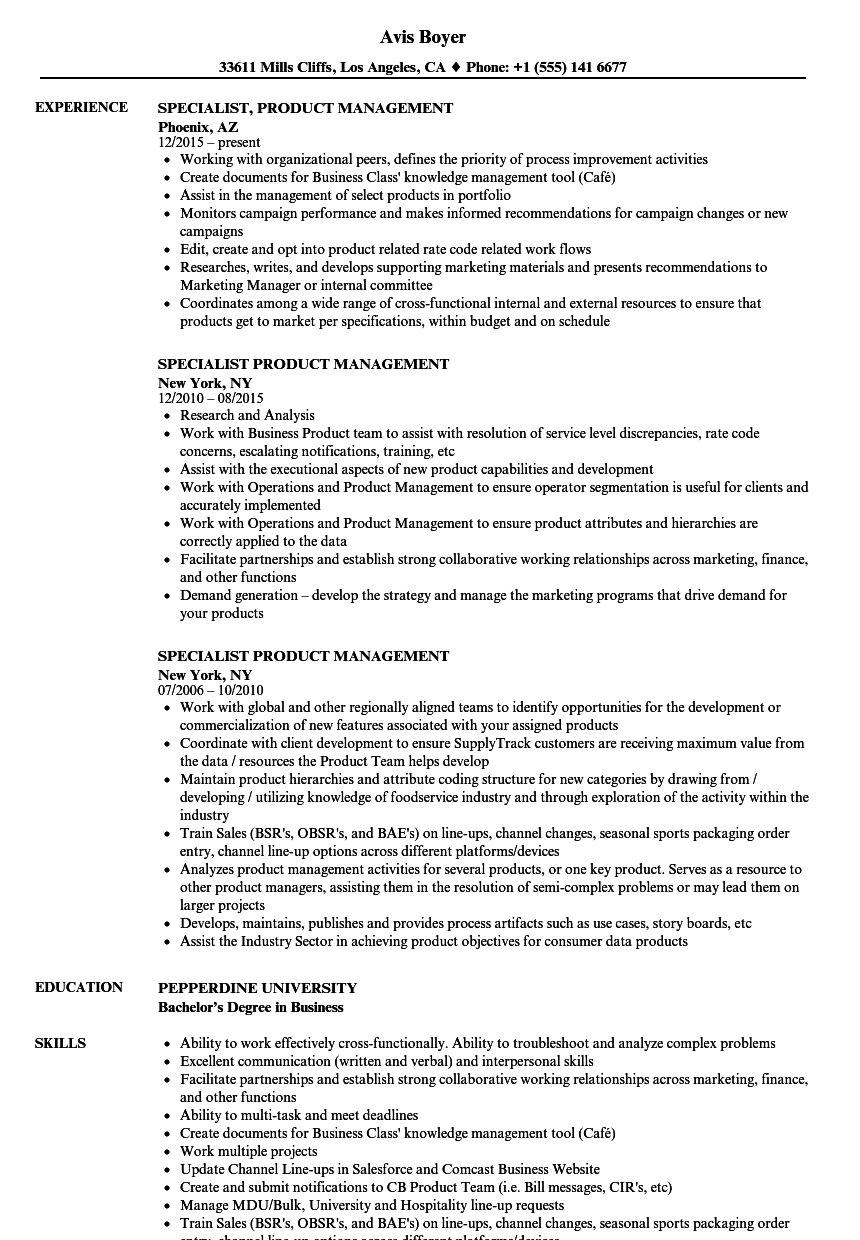 Download Specialist Product Management Resume Sample As Image File  Sample Management Resume