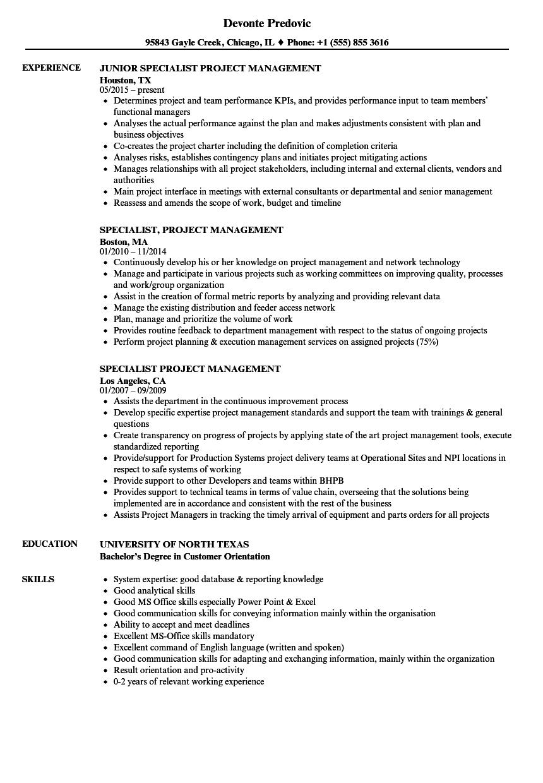 Specialist Project Management Resume Samples | Velvet Jobs