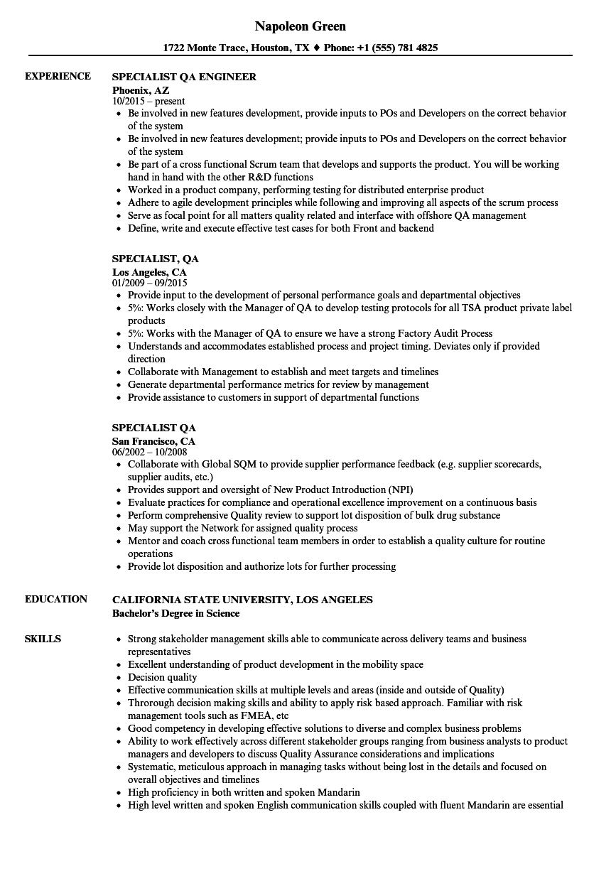 download specialist qa resume sample as image file