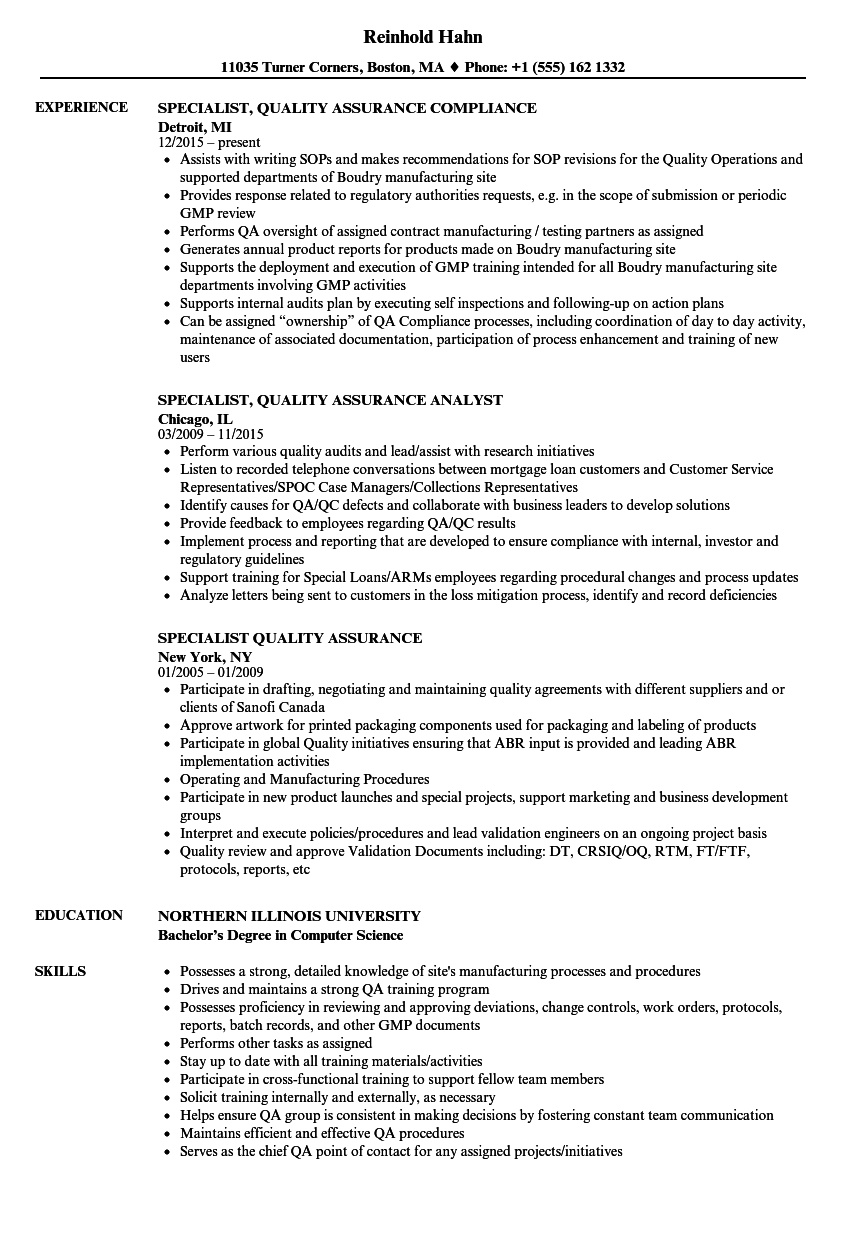 specialist quality assurance resume samples
