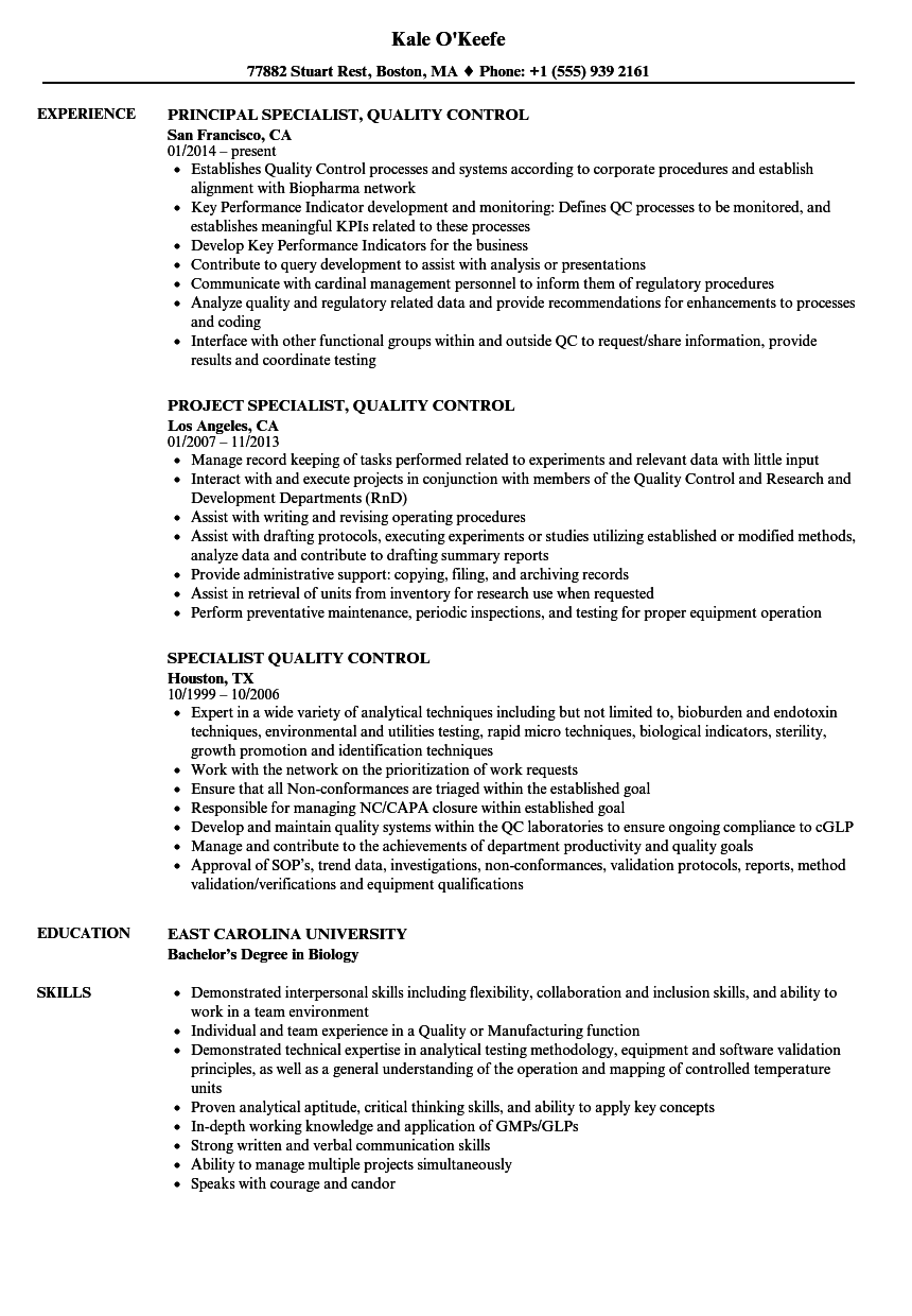download specialist quality control resume sample as image file quality control specialist sample resume - Qa Specialist Sample Resume