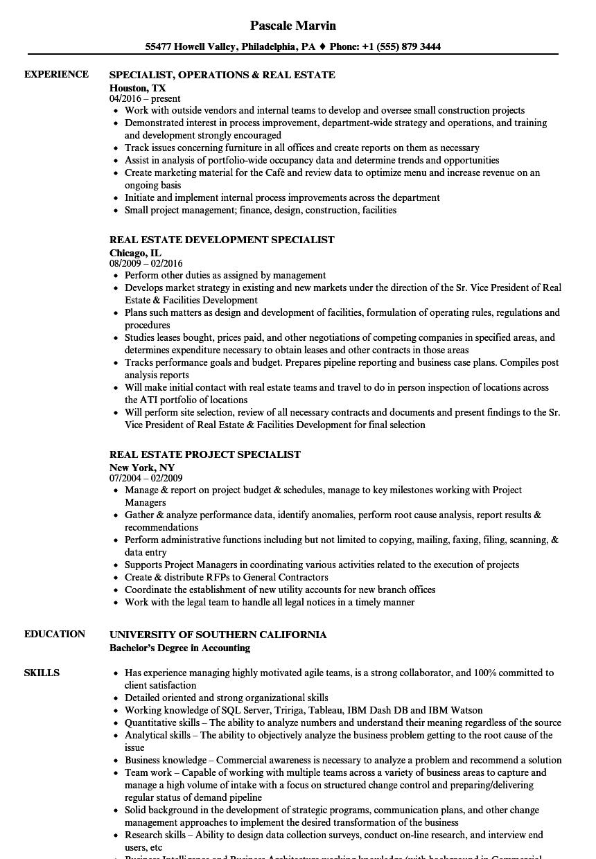 Specialist, Real Estate Resume Samples   Velvet Jobs