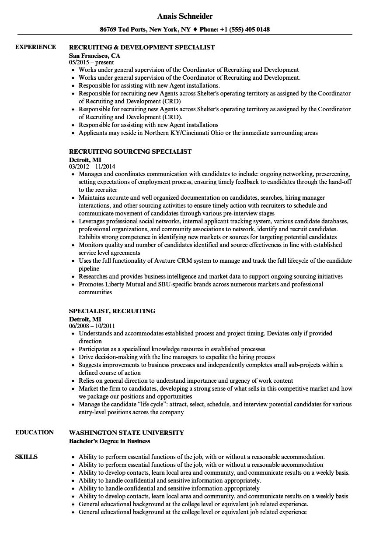 specialist recruiting resume samples  velvet jobs