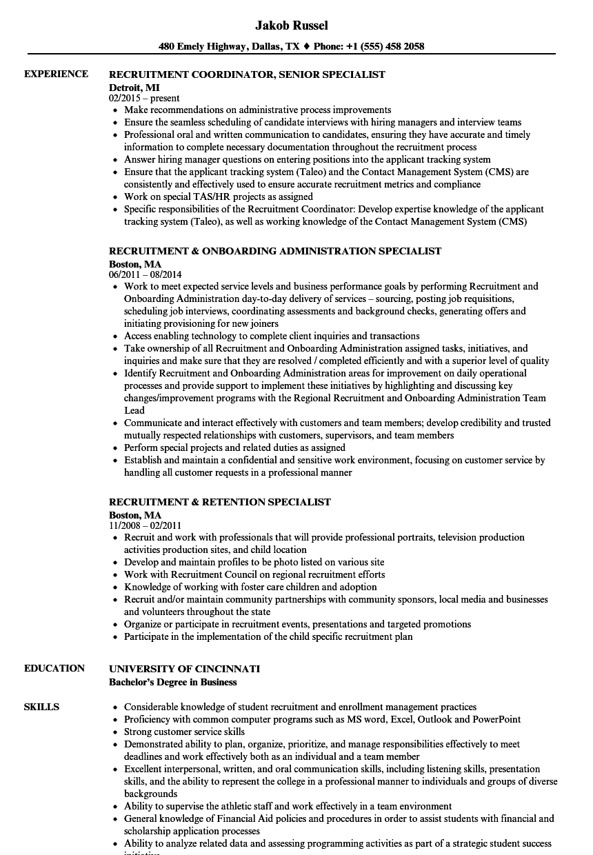 specialist recruitment resume samples velvet jobs