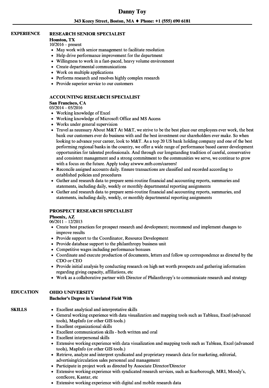 specialist  research resume samples