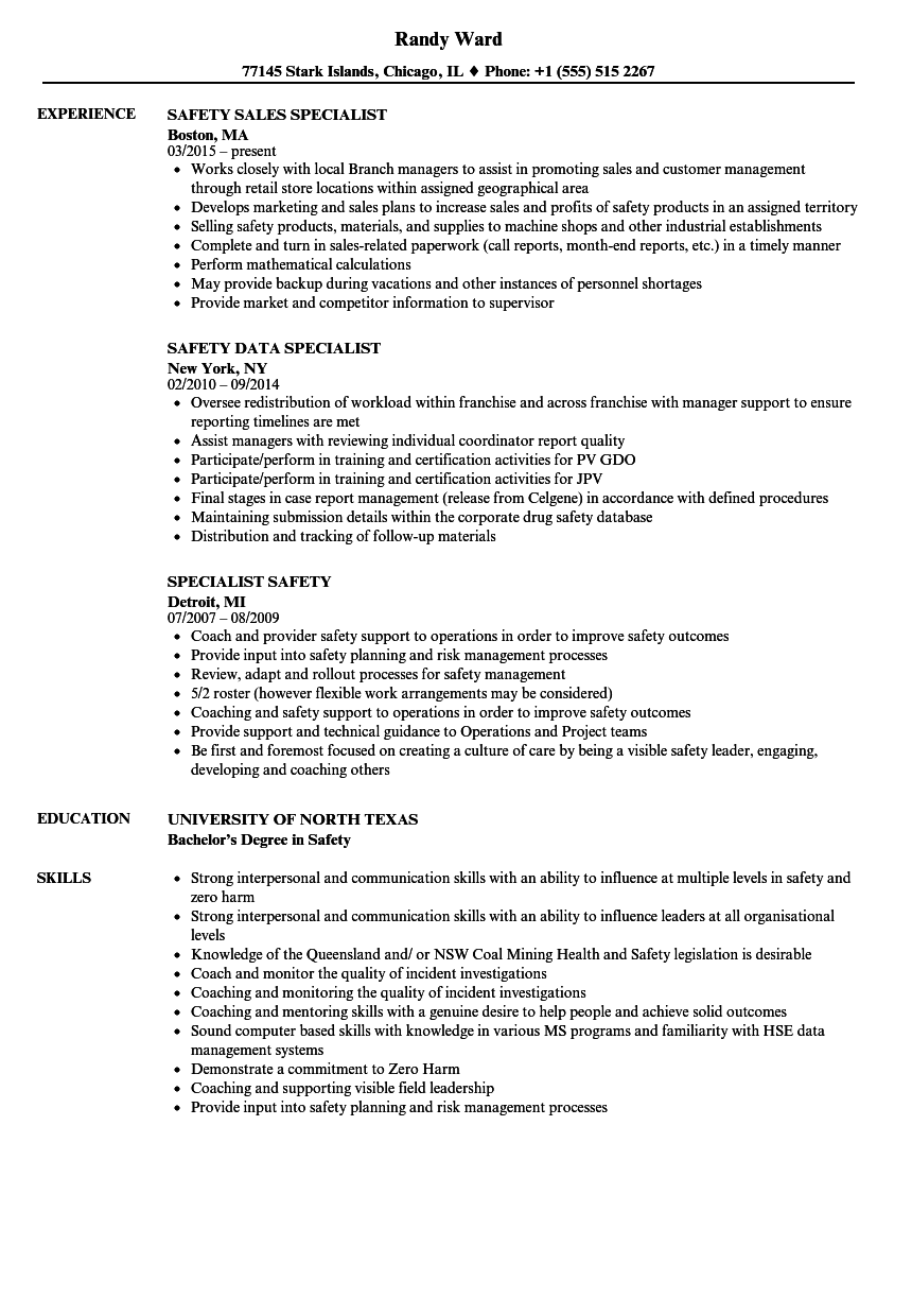 specialist safety resume samples
