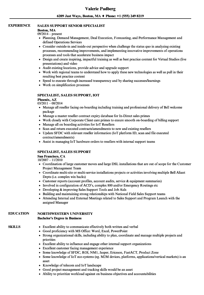 specialist  sales support resume samples
