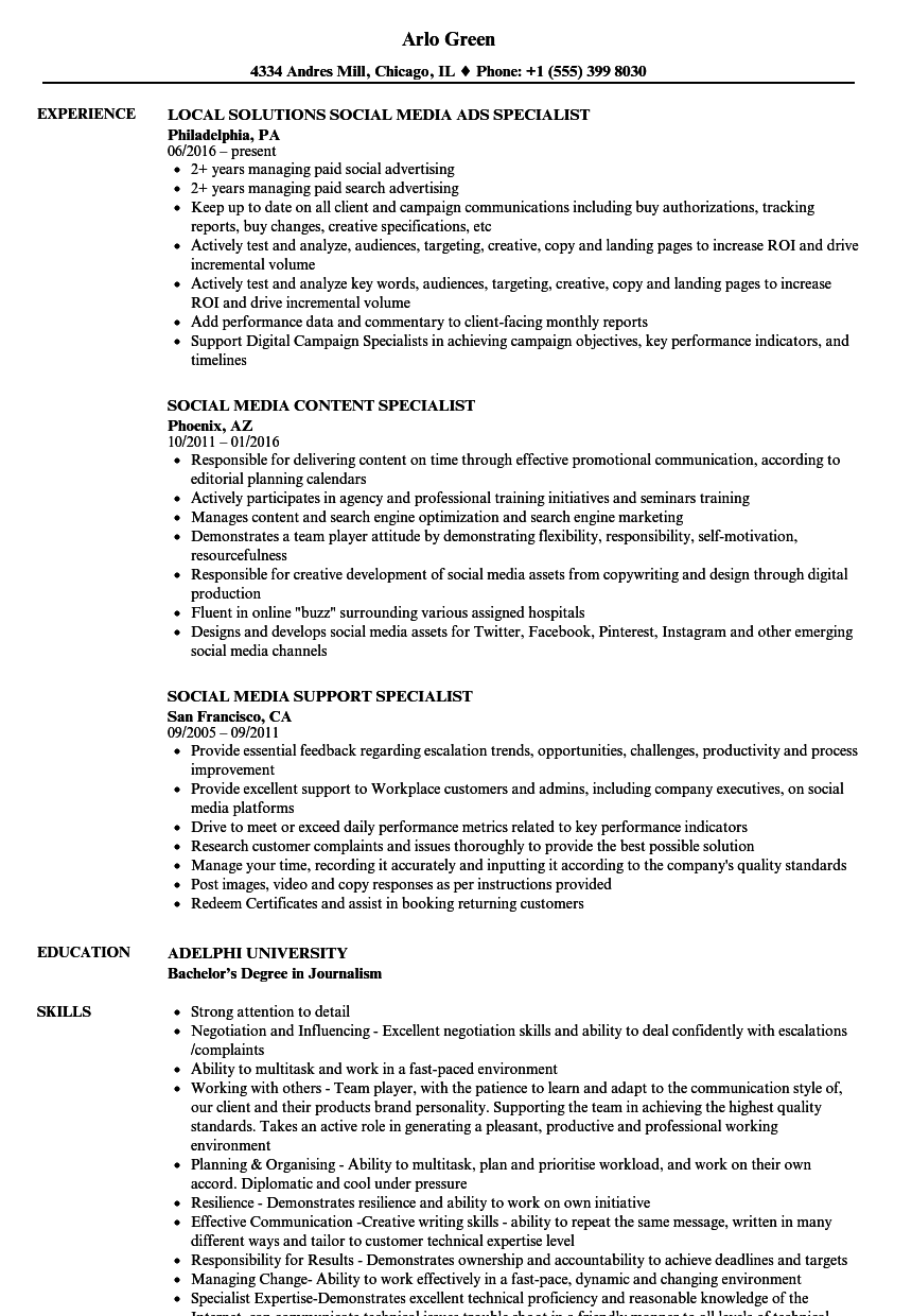 specialist  social media resume samples