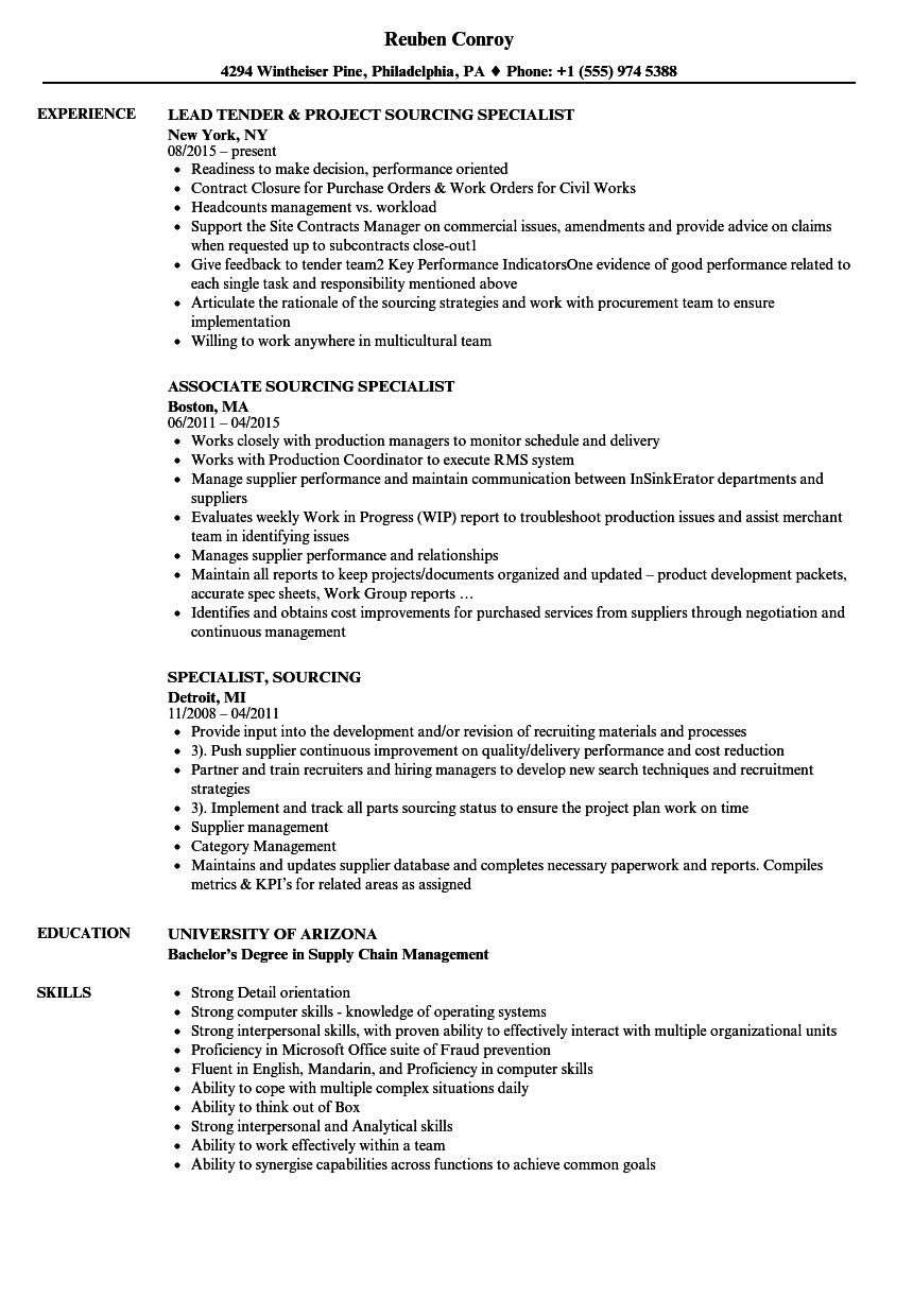 Specialist Sourcing Resume Samples