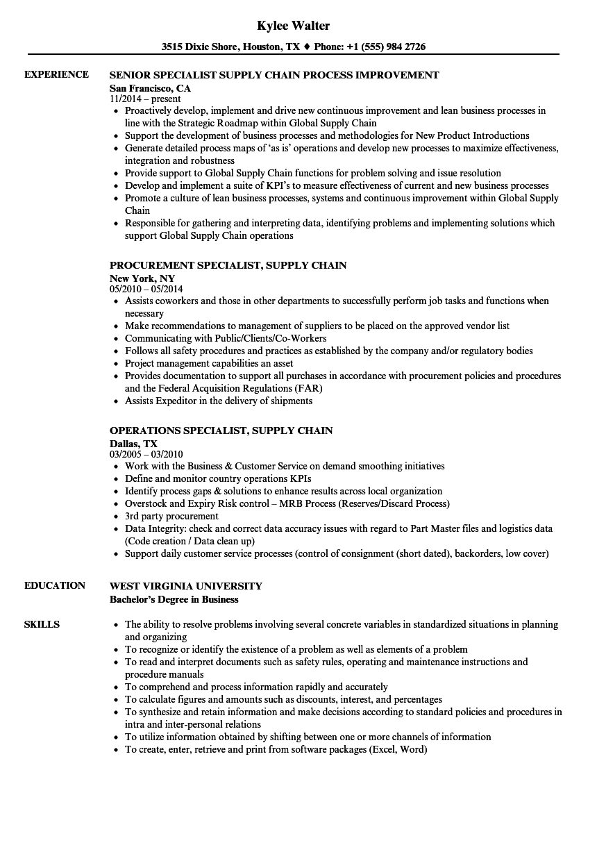 specialist supply chain resume samples