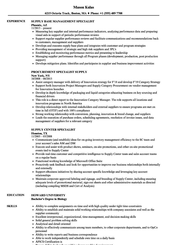 specialist supply resume samples  velvet jobs