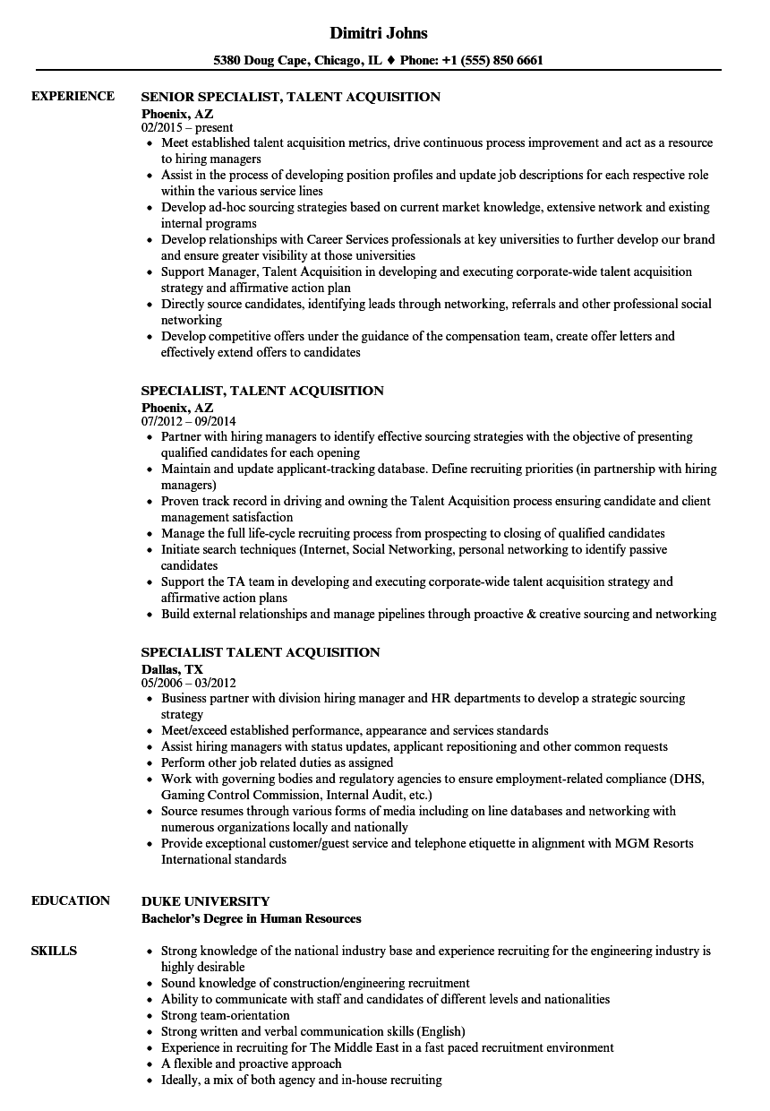 Specialist Talent Acquisition Resume Samples Velvet Jobs