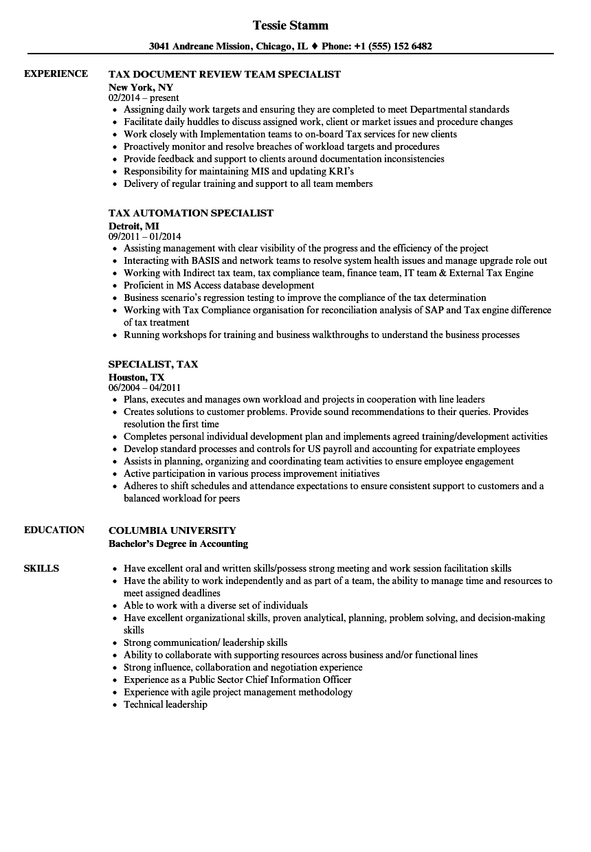 download specialist tax resume sample as image file - Licensing Specialist Sample Resume