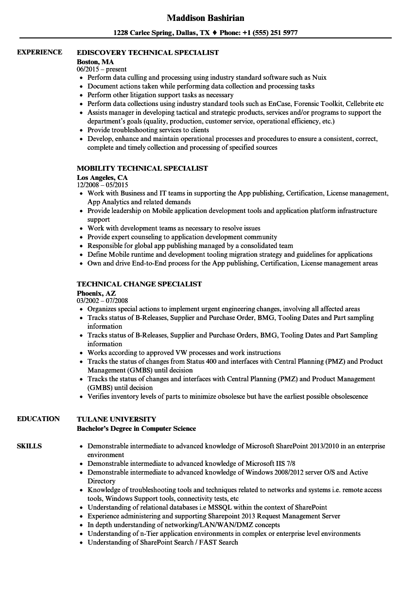 specialist  technical resume samples