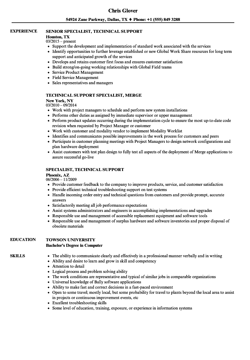 specialist  technical support resume samples