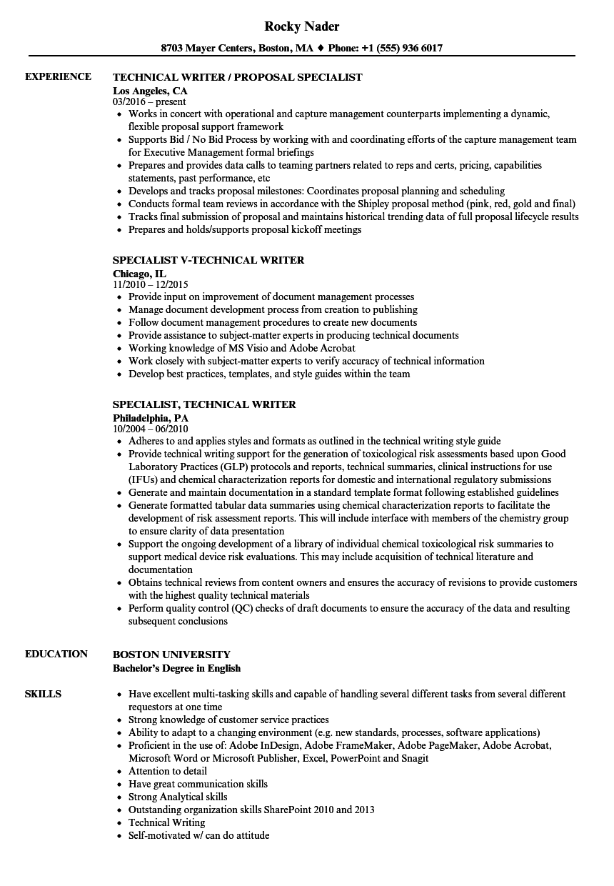 specialist  technical writer resume samples
