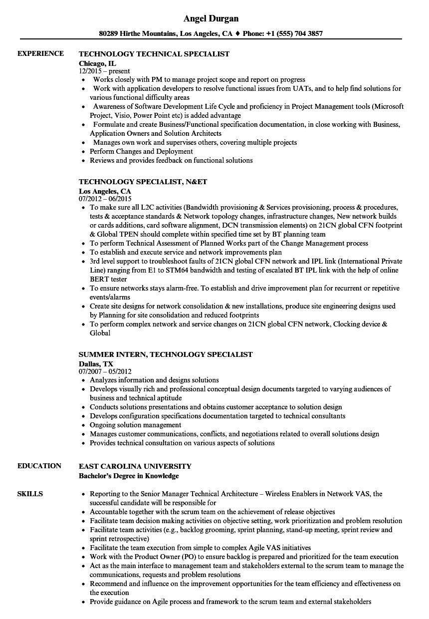 specialist technology resume samples