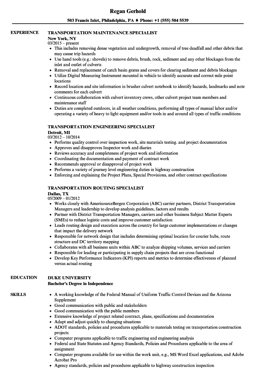 Related Job Titles. Transportation Analyst Resume Sample