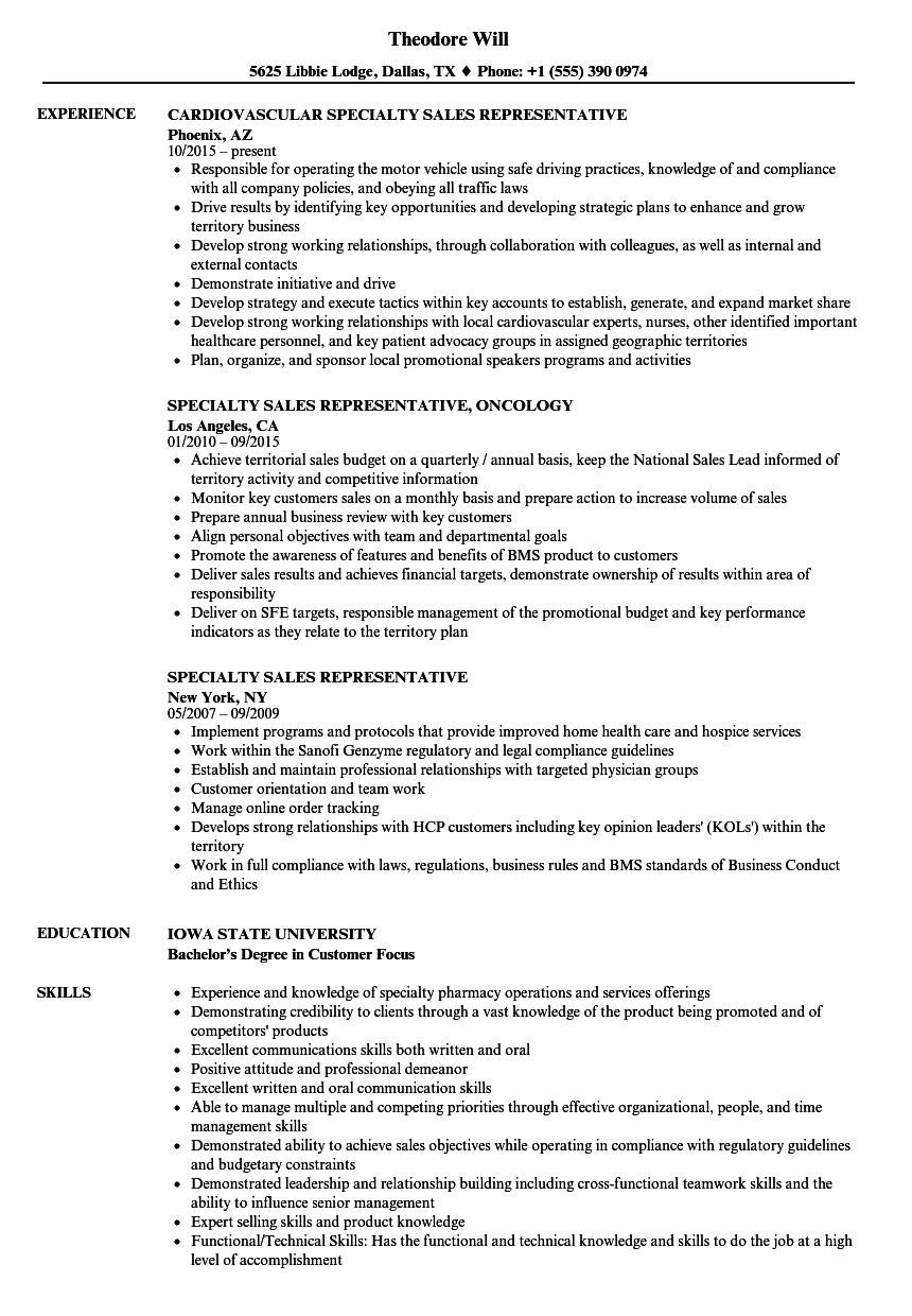Download Specialty Sales Representative Resume Sample As Image File  Sales Representative Resume Examples