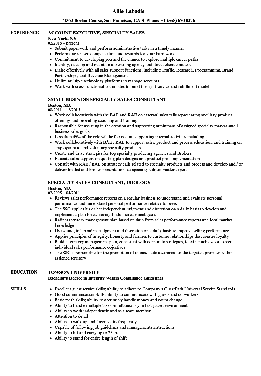 Specialty Sales Resume Samples Velvet Jobs