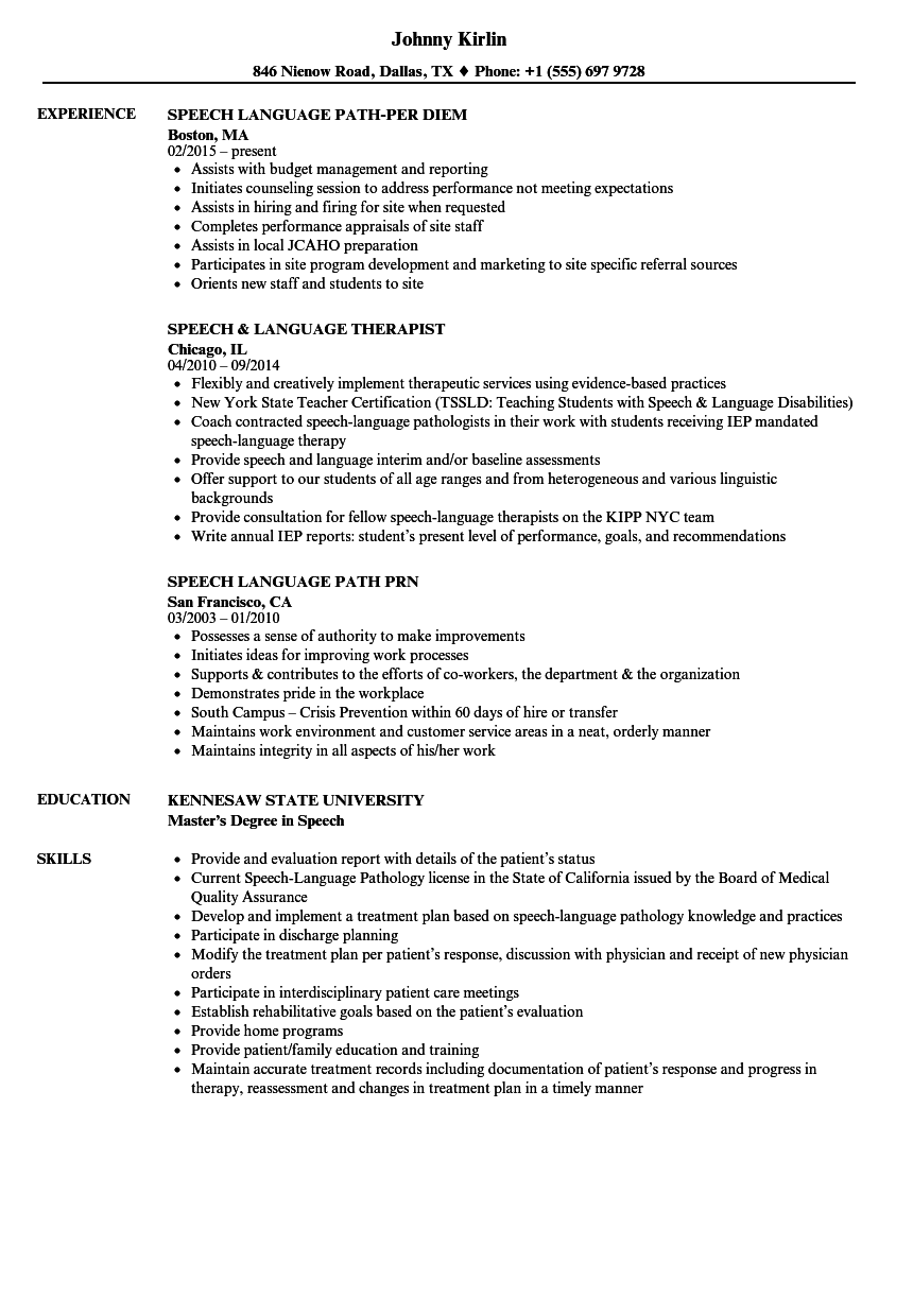 Download Speech Language Resume Sample As Image File