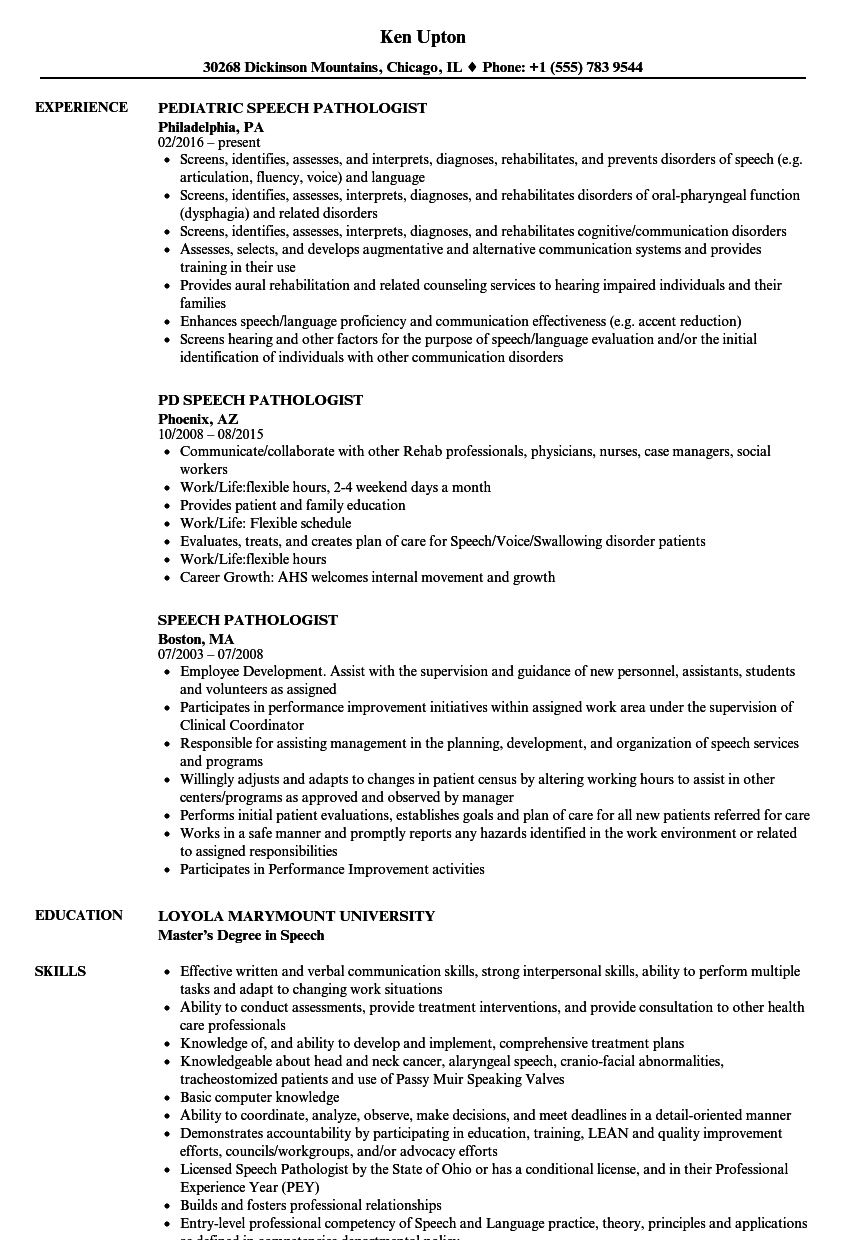 sample resume for speech language pathologist assistant