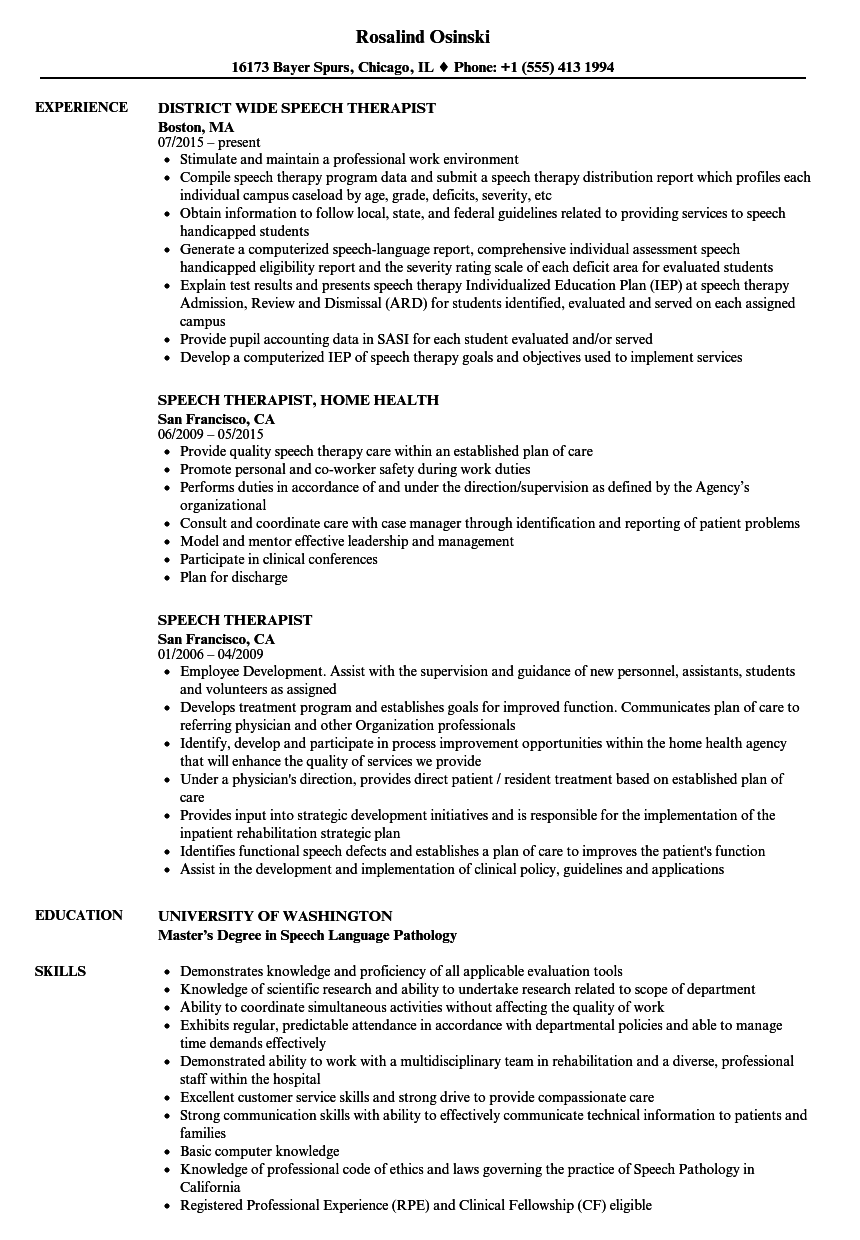 speech therapist resume samples velvet jobs