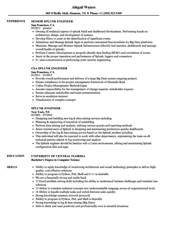 Splunk Engineer Resume Samples | Velvet Jobs