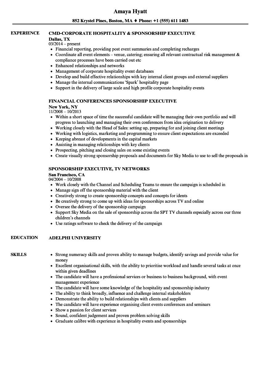 Download Sponsorship Executive Resume Sample As Image File