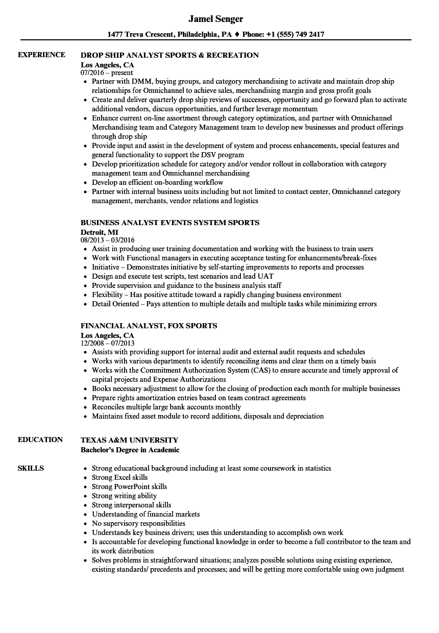 sports analyst resume samples