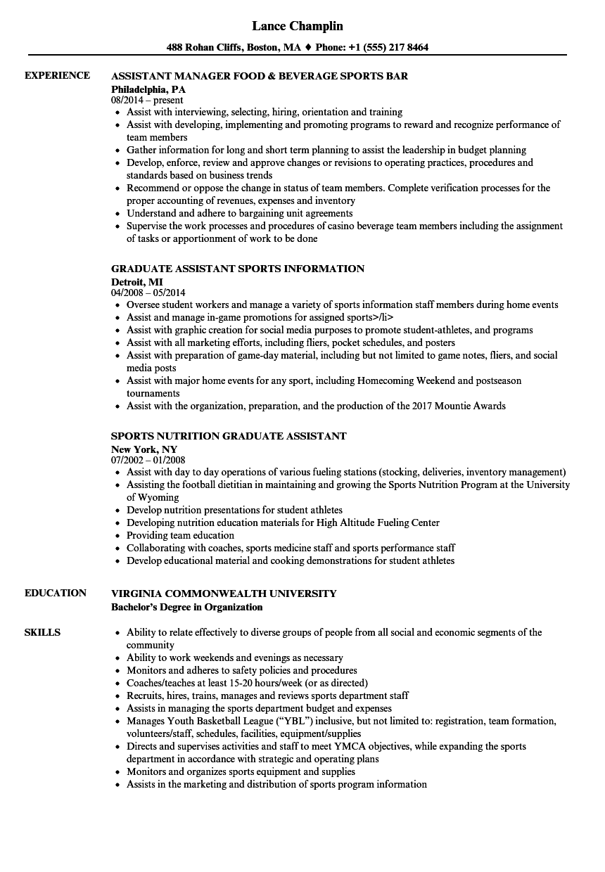 Download Sports Assistant Resume Sample As Image File