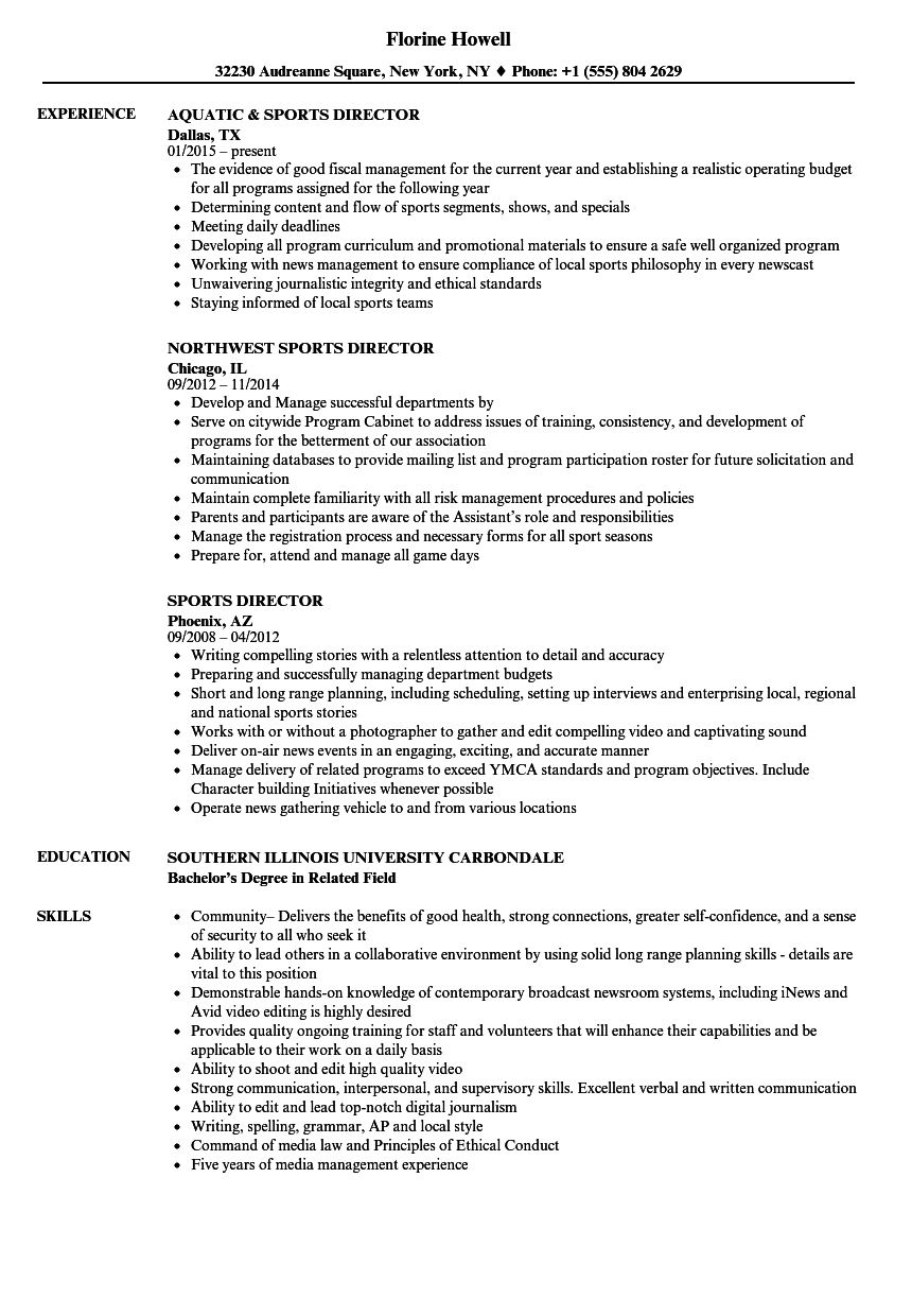 Download Sports Director Resume Sample As Image File