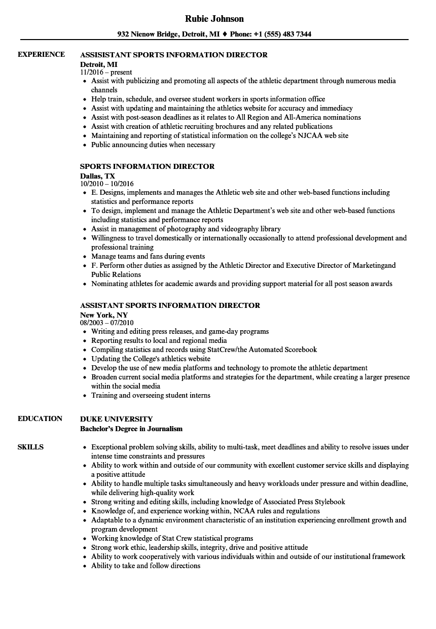 Download Sports Information Director Resume Sample As Image File