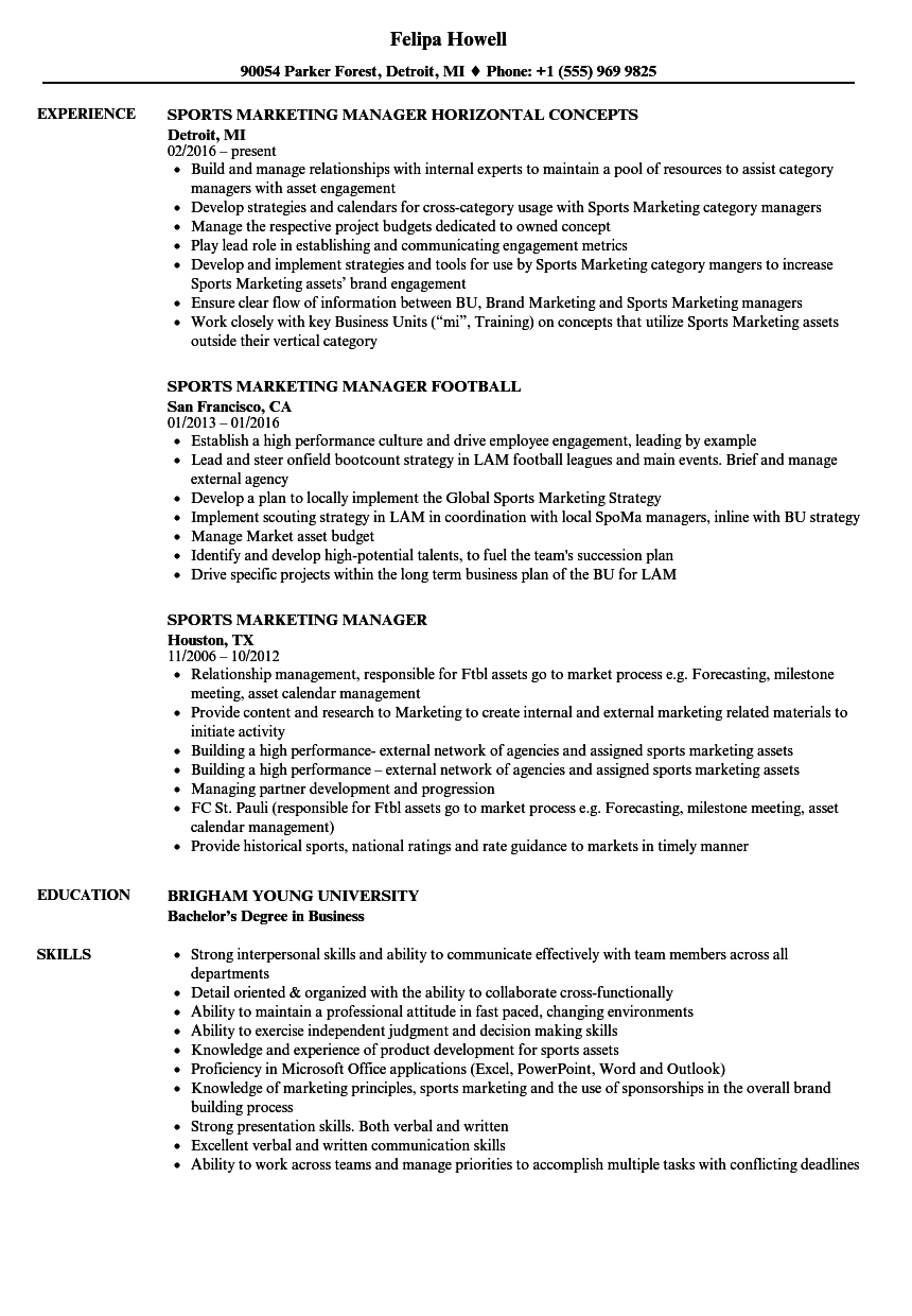 Sports Marketing Manager Resume Samples | Velvet Jobs