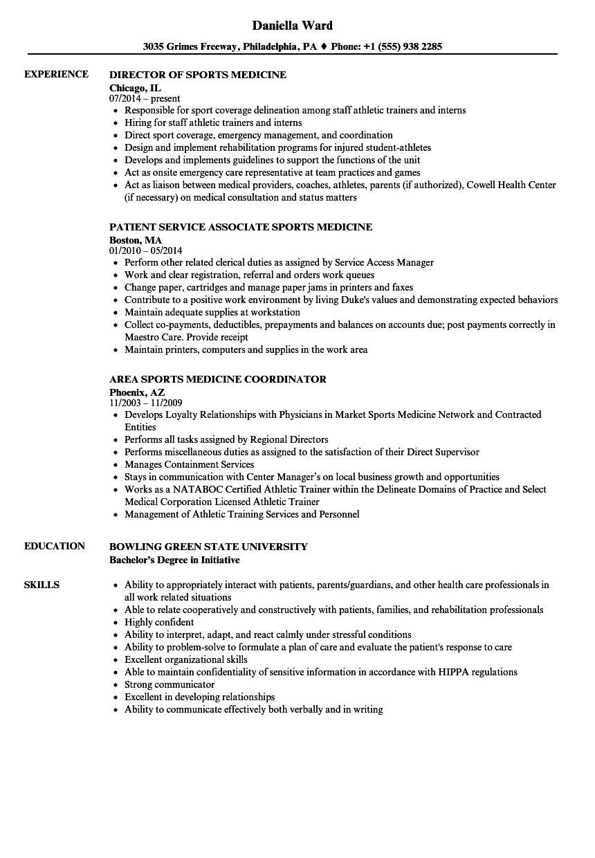 sports medicine resume samples velvet jobs