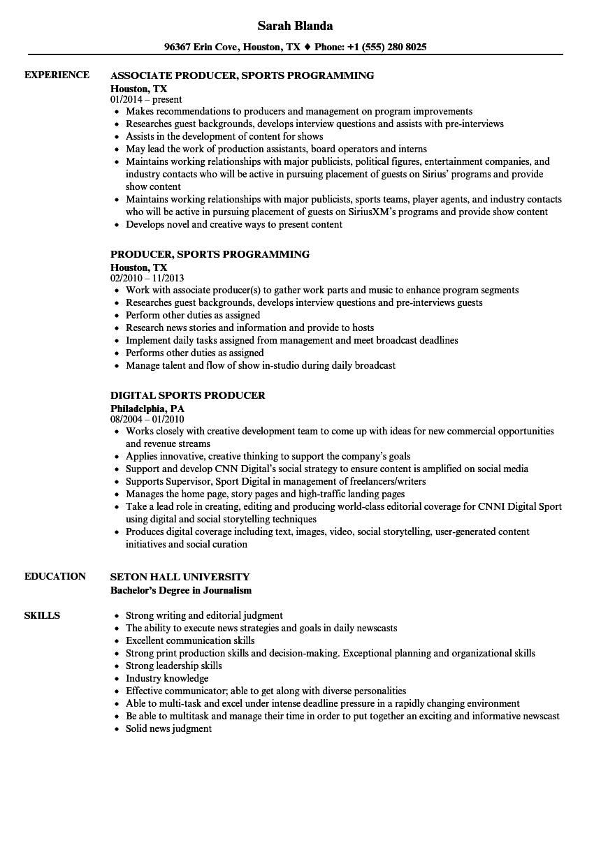 download sports producer resume sample as image file - Duties Of A Producer