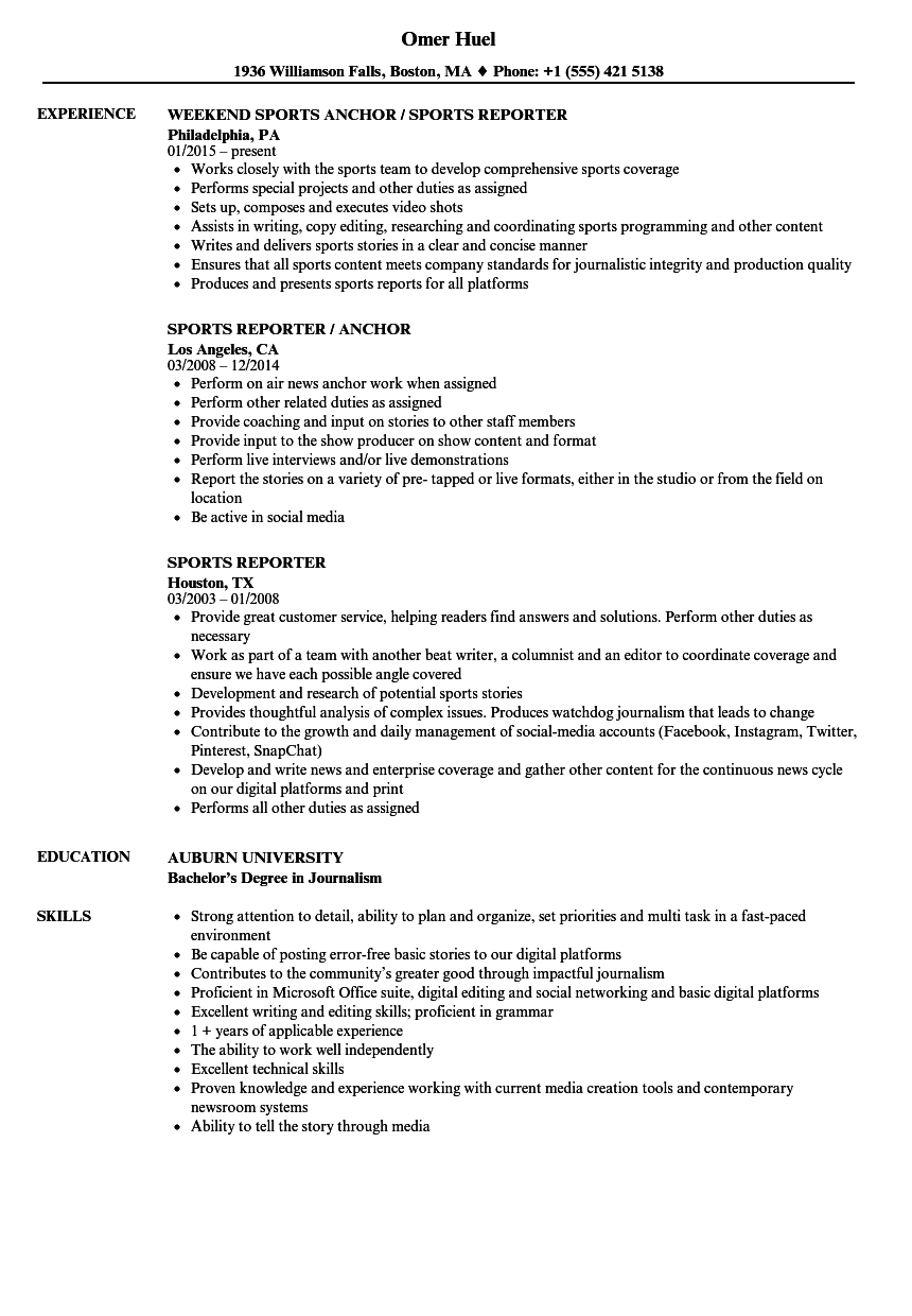 Download Sports Reporter Resume Sample As Image File