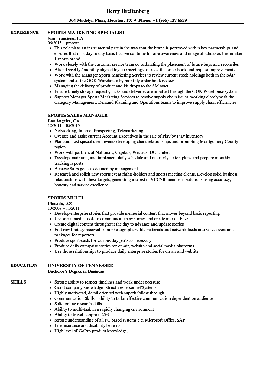 Download Sports Resume Sample As Image File