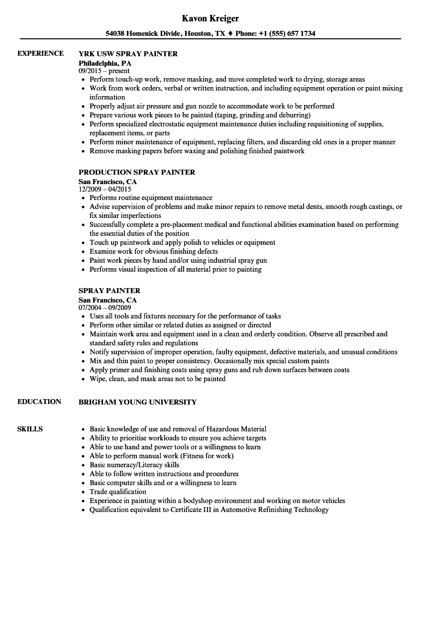 Painter Resume Delectable Spray Painter Resume Samples Velvet Jobs