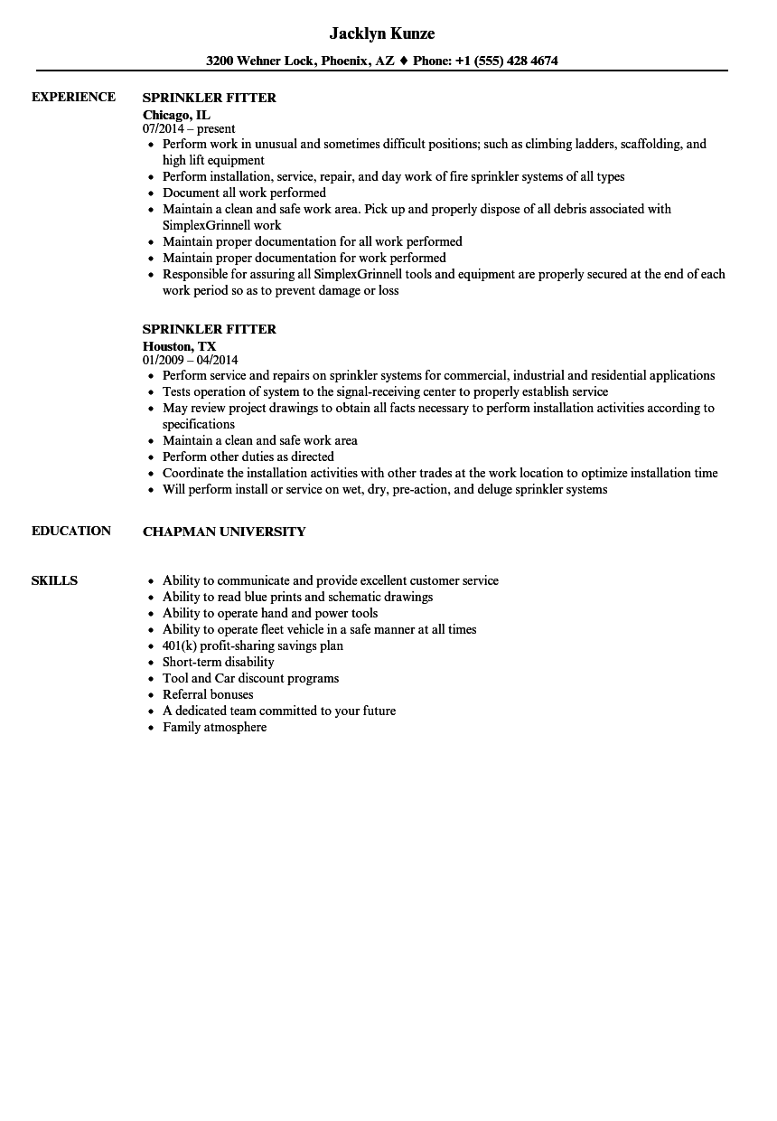 sprinkler fitter resume samples velvet jobs