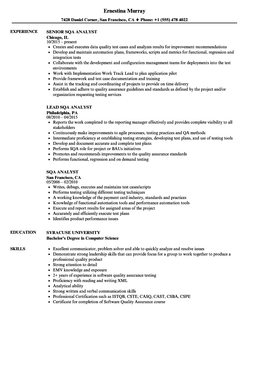 sqa analyst resume samples