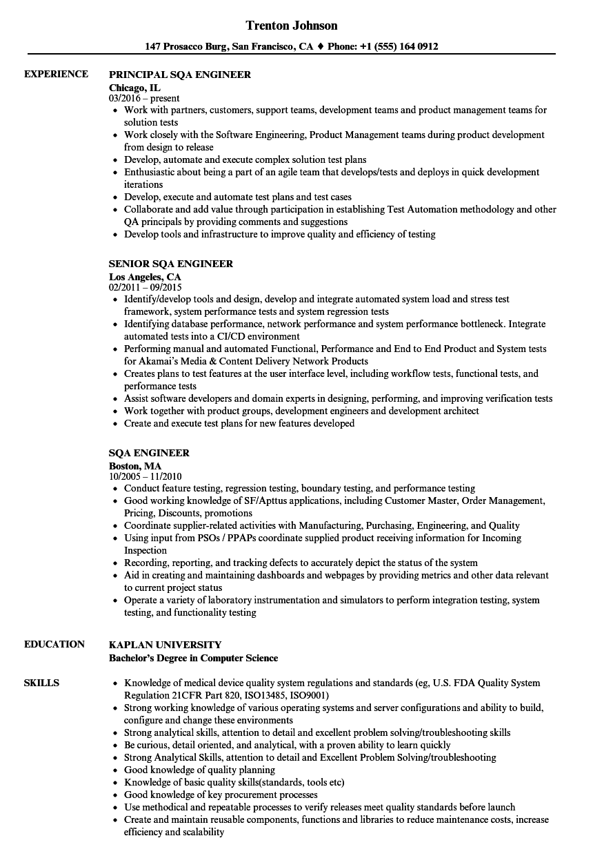 Sqa Engineer Resume Samples Velvet Jobs