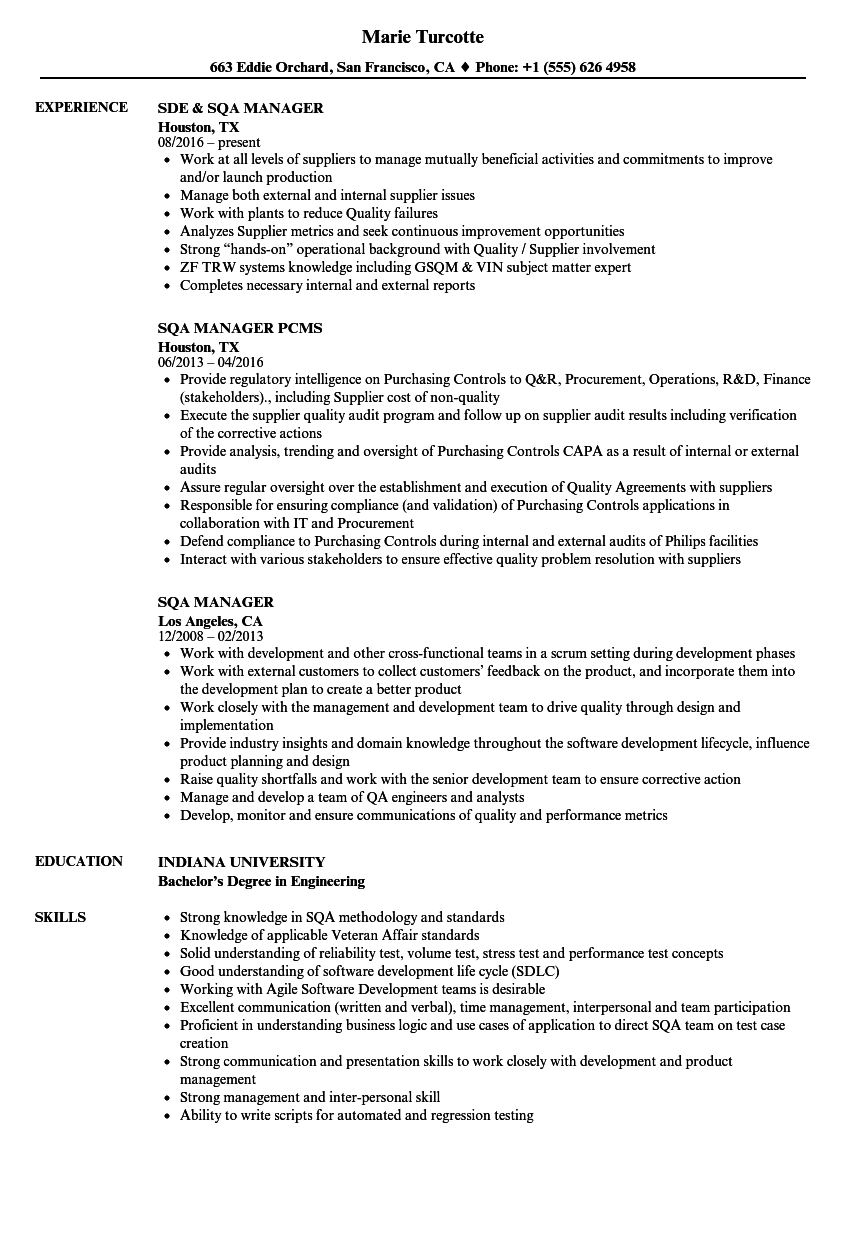 Sqa Manager Resume Samples Velvet Jobs