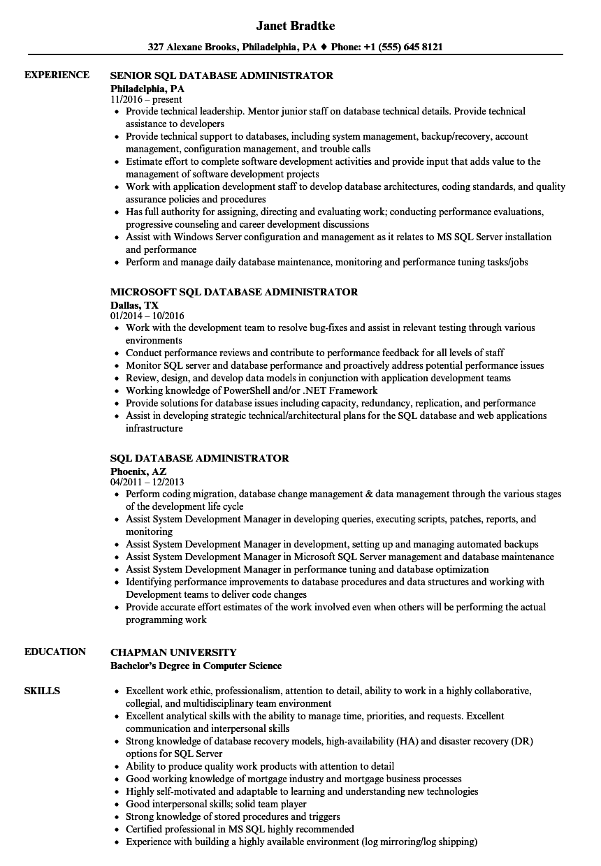 Sql Database Administrator Resume Samples Velvet Jobs